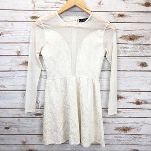 For Love & Lemons White Skater Dress Sz S ::FF15